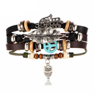 Handmade Leather Bracelet with Owl Pendant | Free Shipping