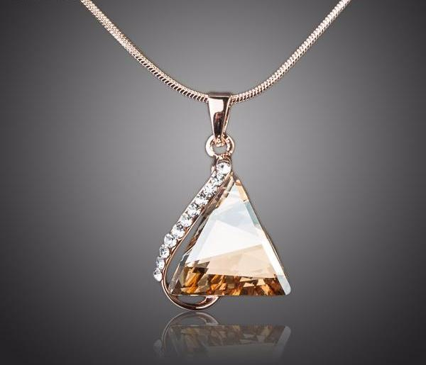 Cubic Stone Triangle Pendant Necklace | Free Shipping