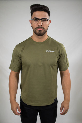 Signature One Curved Hem T-Shirt / Khaki Green
