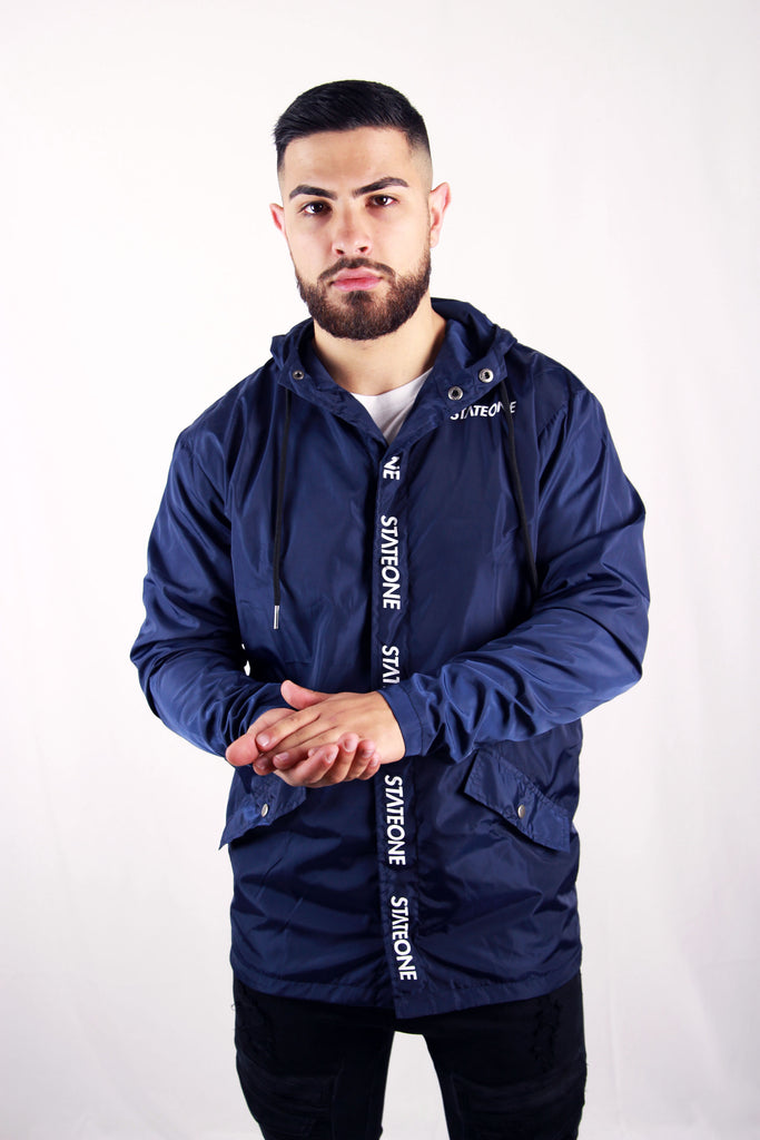 Navy Blue Mob Hooded Parker Jacket
