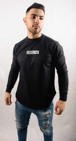 New Dawn Curved Hem Long Sleeve T-Shirt / Black