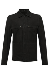 Mens Leather Jacket 48 Black