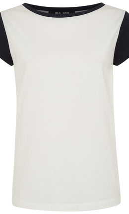 WOMENS CAPPED SLEEVE TSHIRT IVORY / NAVY