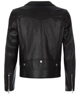 MENS SLIM LEATHER BIKER BLACK