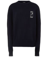 UNISEX CROPPED CREW NECK JUMPER NAVY