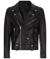 MENS SLIM HAND PAINTED LEATHER BIKER JACKET BLACK