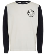 MENS VARSITY LONG SLEEVE TSHIRT IVORY / NAVY