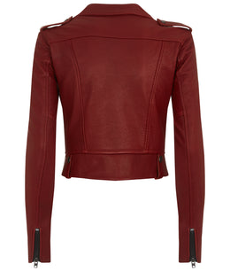 WOMENS CROPPED LEATHER BIKER JACKET RED