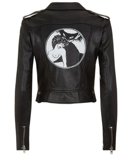 WOMENS CROPPED HAND PAINTED LEATHER BIKER JACKET BLACK
