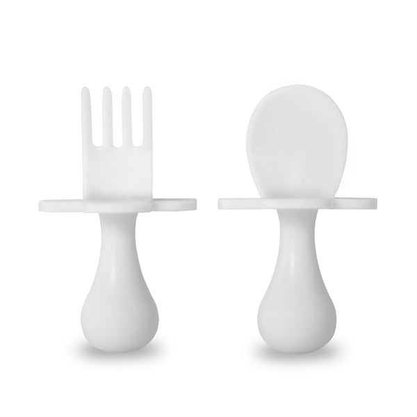 White Fork & Spoon Cutlery Set for Babies and Toddlers