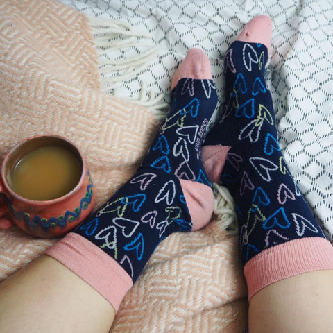 hearts socks in bed and tea