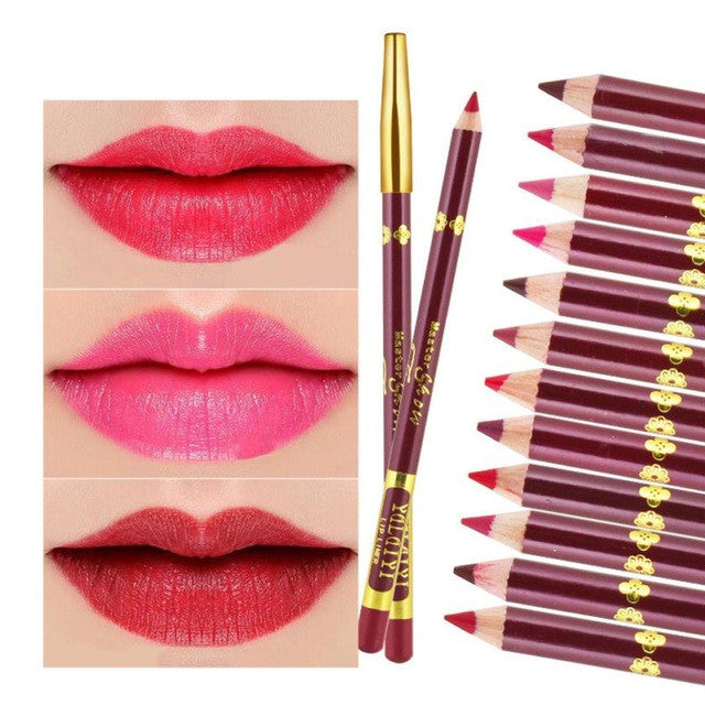 12 Colors Party Queen Lip Liner Pencil