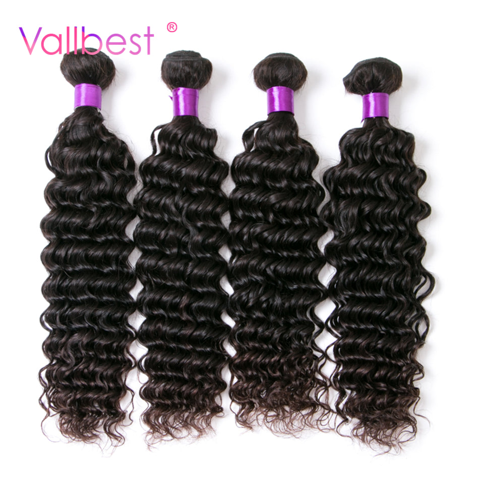Deep Wave Brazilian Hair Weave Bundles Non Remy Hair Weaving Human Hair Extension 1B Natural Black 100g/Piece Vallbest Weave