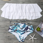 Off Shoulder Cut Out Bandeau Ruffle Floral Bikini - White
