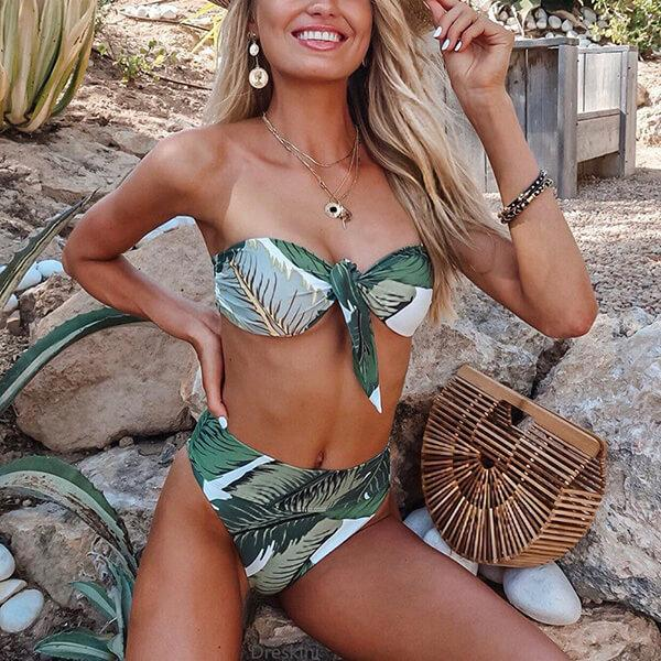 Tropical Leaves Bandeau Bikini Lessie