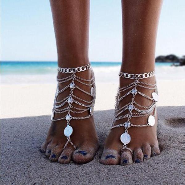 Boho Layered Round Print Pendant Ankle Chain Marisa - Silver