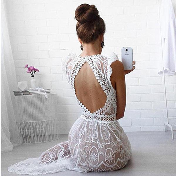 See Through Sexy Back Sleeveless Lace Beach Dress