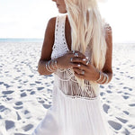 Knitted Cut Out Long Boho Beach Dress - White