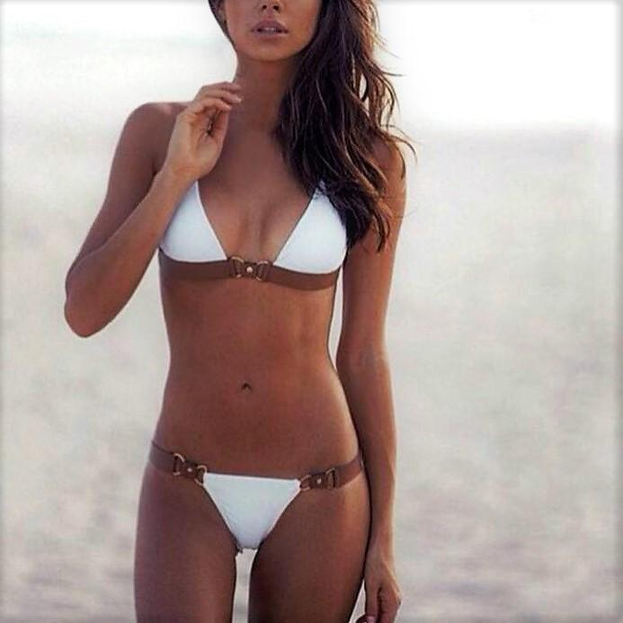 Low Waist Golden Buckles Bikini Bilboa - White And Brown