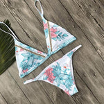 Knitted Details Floral Safari Bikini - White