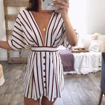 Half Sleeve Stripes Buttons Plunge Neck Backless Dress Britta