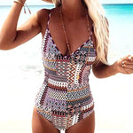 Back Cross Lace Patchwork Boho Colorful Swimsuit Kia