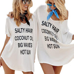 Oversized T Shirt Beach Cover Up Salty Hair Coconut Oil - White