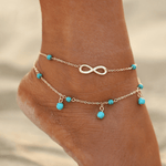 Infinity Pearl Ankle Chain - Golden