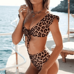 Front Knot Short Sleeve High Waist Panther Bikini