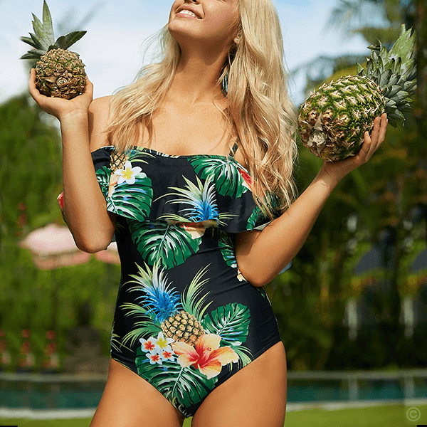 Convertible Off Shoulder Ruffle Pineapple Print Swimsuit