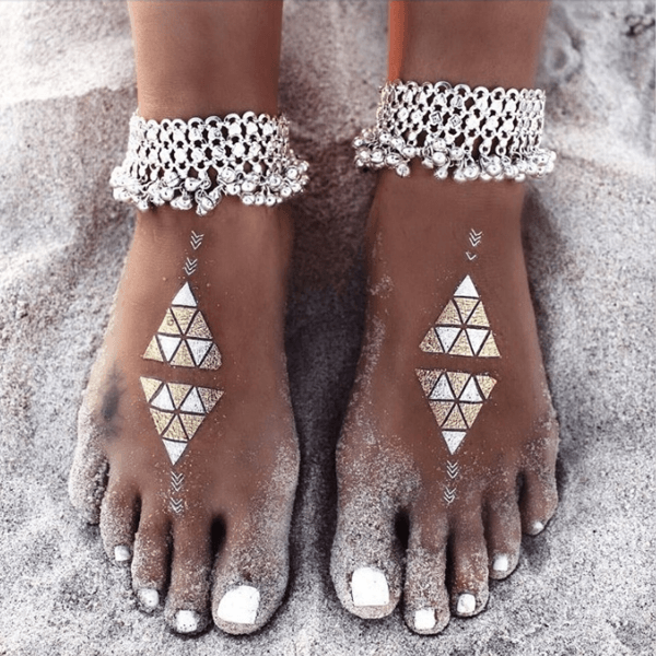 Boho Multiple Layers Ankle Chain - Silver