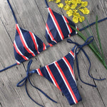 Sexy Navy Stripes Triangle Bikini