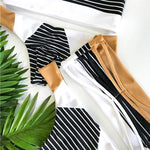 Off Shoulder Stripes Bandeau Bikini Dali