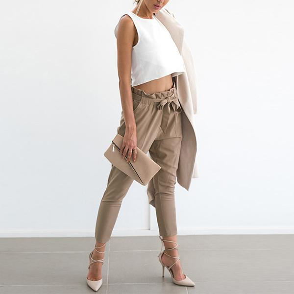 High Waist Narrow Leg Belted Pants Maeve - Beige
