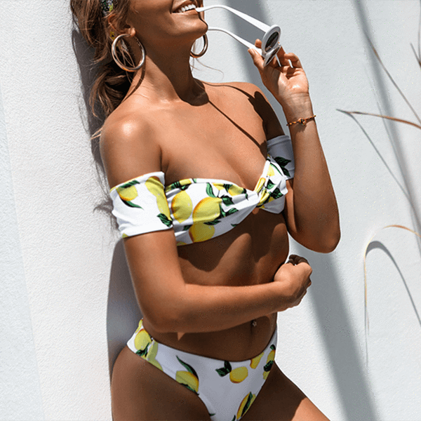 Off Shoulder Lemon Print Bandeau Bikini Treca - White