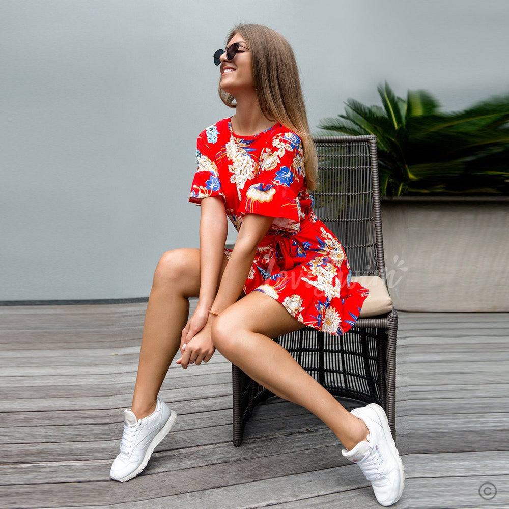 Asymetric Short Sleeve Belted Ruffle Floral Dress Leah - Red
