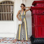 Backless Plunge Neck Wide Leg Striped Jumpsuit Mollie - Yellow
