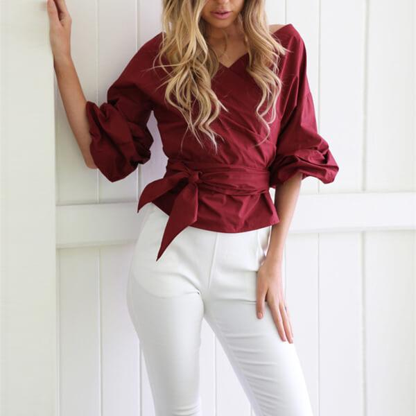 Three Quarter Sleeve Belted Wrap Top Atalie