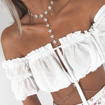 Ruffle Off SHoulder Short Sleeve Crop Top Kelly