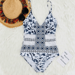 Floral Retro Swimsuit - Blue