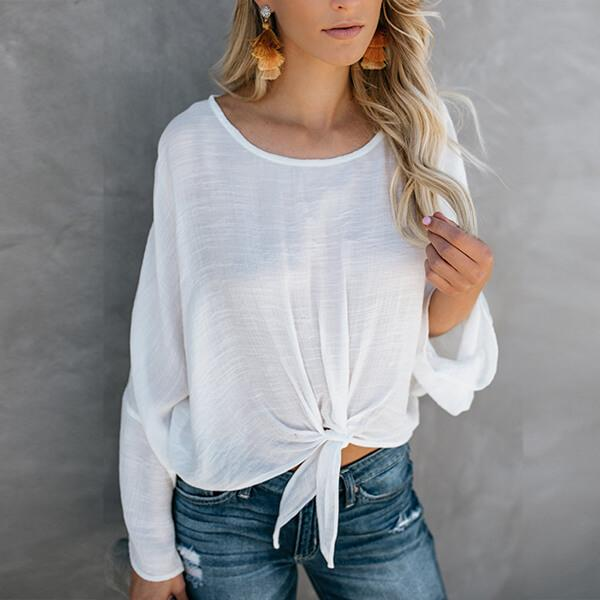 Front Knot Long Sleeve Round Neck Woman Top Allegra