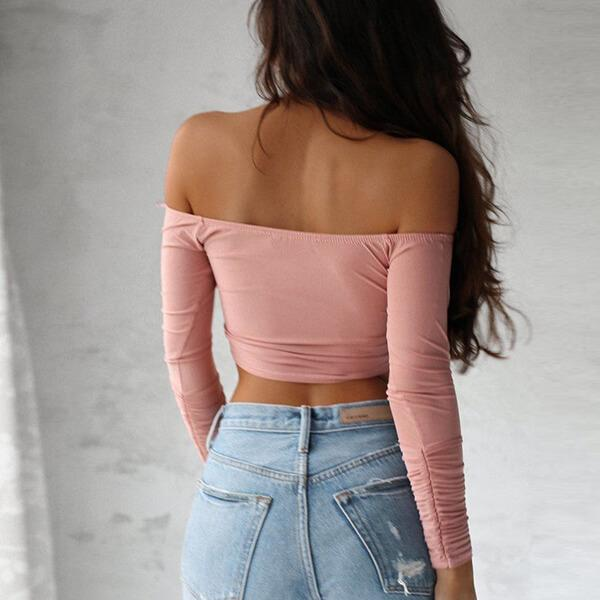 Off Shoulder Long Sleeve Wrap Crop Top Anna