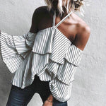 Off SHoulder Neck Strap Flair Layered Sleeve Ruffle Striped Blouse Mariana - White