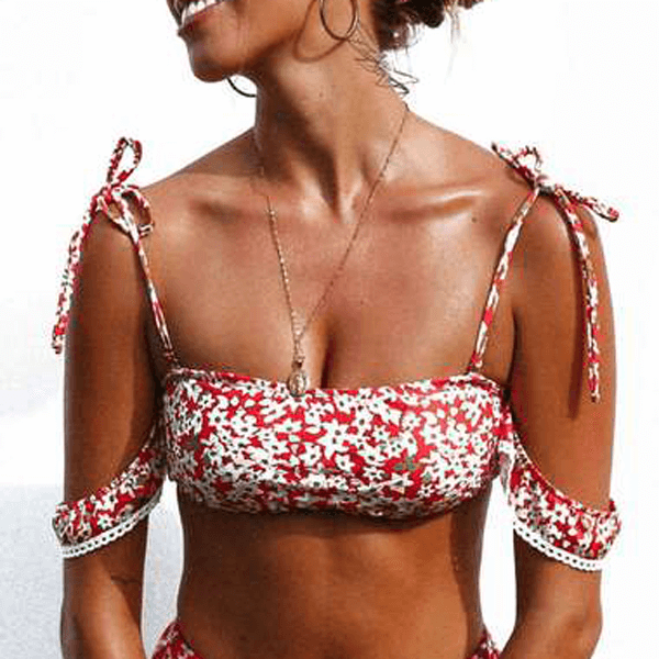 Off Shoulder HIgh Leg Thnong Floral Bikini - Red