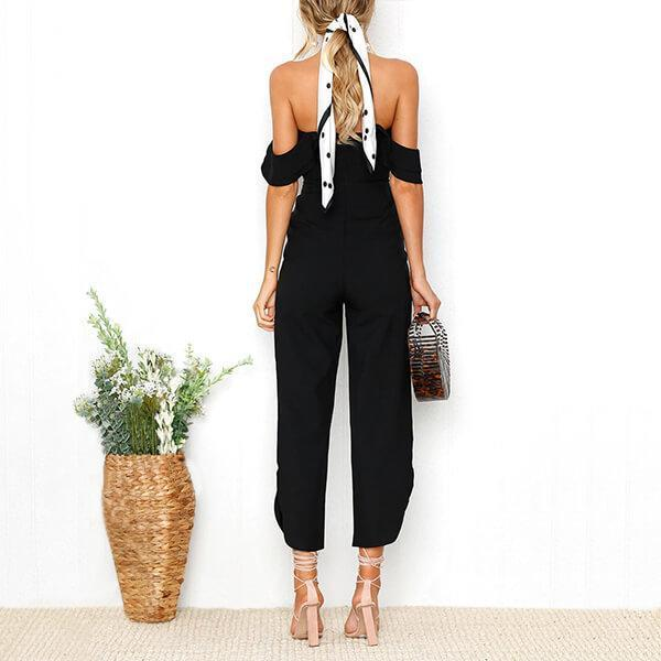 Off The Shoulder Back Zip Jumpsuit Bella - Black