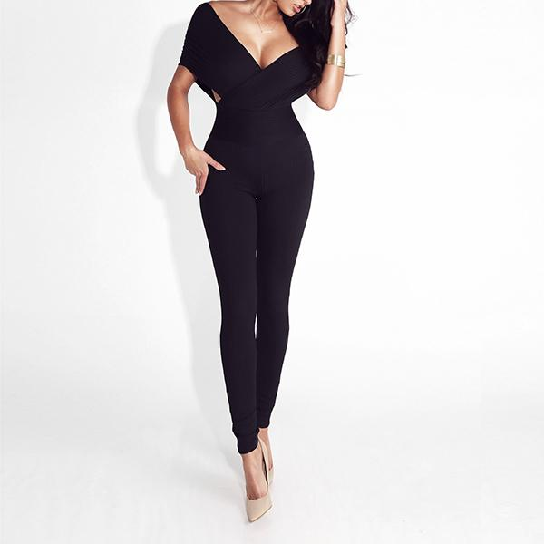 Elegant Cross Off Shoulder Bodycon Jumpsuit Serafina