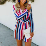 Elegant Twisted Plunge Neck Long Sleeve Colorful Striped Short Dress Lilith