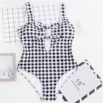 Double Front Knot Checked Swimsuit Betsy - Black and White