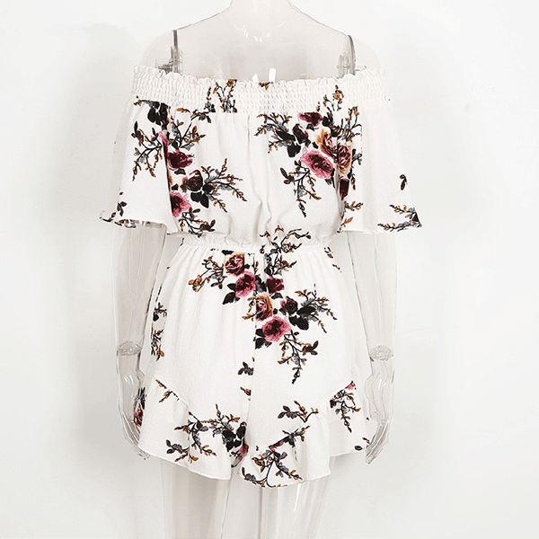Short Sleeve Off Shoulder Floral Romper - White