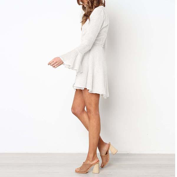 Long Sleeve Wrap Dress Amelia - White